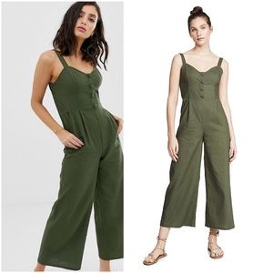 MOON RIVER Button Corset Wide Leg Linen Jumpsuit L